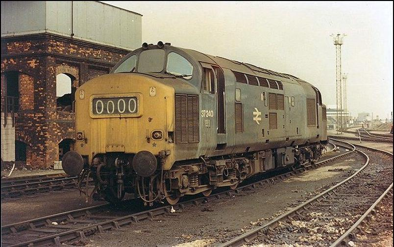 Here's how she used to look back in the day: 37240 back in the good old  days of BR Blue. Full photo details required – please contact me if this is  yours!